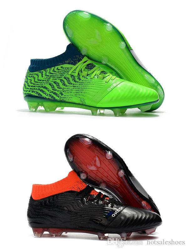 a1b429817 2019 2018 Mens Soccer Cleats KUN Sergio Aguero One Leather 18.1 Synthetic  Syn FG Griezmann High Ankle Leather Soccer Shoes Football Boots Cheap From  ...