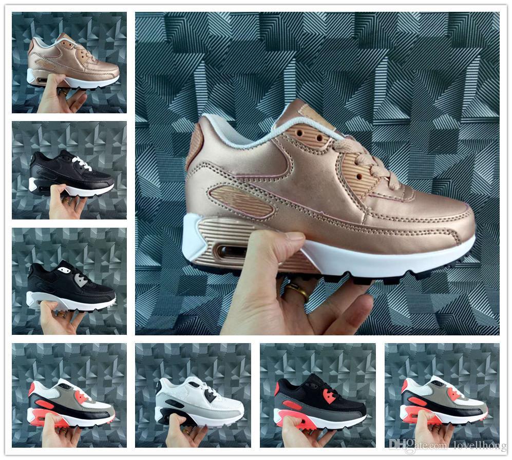new style b42f9 ac53d Großhandel Nike Air Max Airmax 90 Baby Kinder Turnschuhe Schuhe Klassische 90  Jungen Mädchen Kinder Laufschuhe Schwarz Weiß Sport Trainer Luftpolster ...