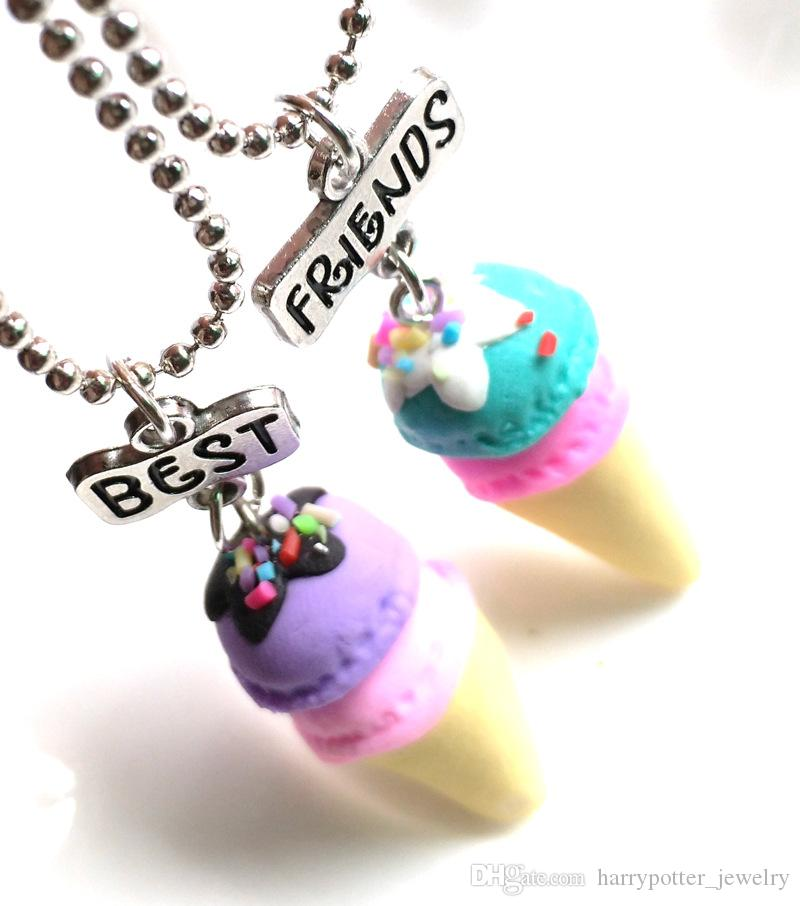 Best Friends Forever Food Miniature Ice cream Pendant Necklaces Love Heart Friendship Creative BFF Keepsake Christmas Gift for kid drop ship