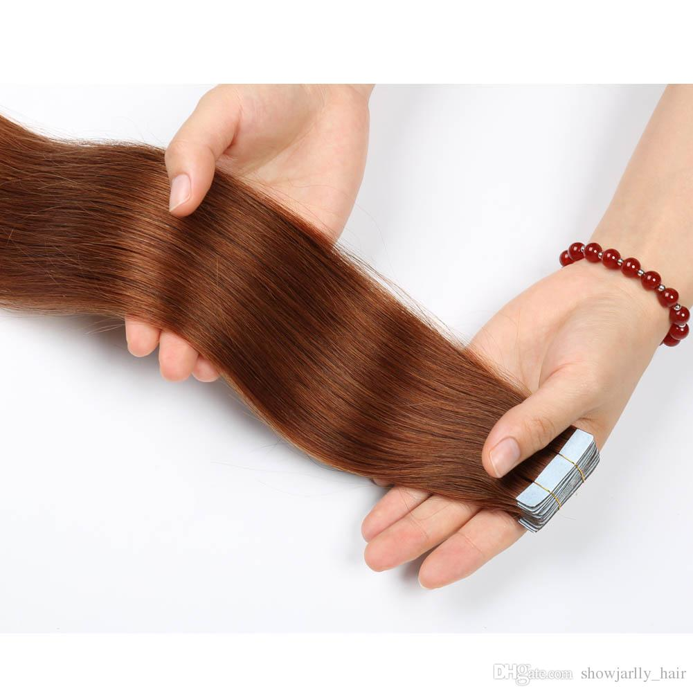 Red Brown Tape In Hair Extensions Real Double Drawn Human Hair 30