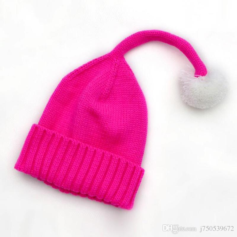 طفل قبعة لطيف الاطفال التشفيه قبعة قبعة دافئة جميلة ذيل طويل فروي الكرة محبوك القبعات للأطفال الفتيات الفتيان الطفل صور الدعائم