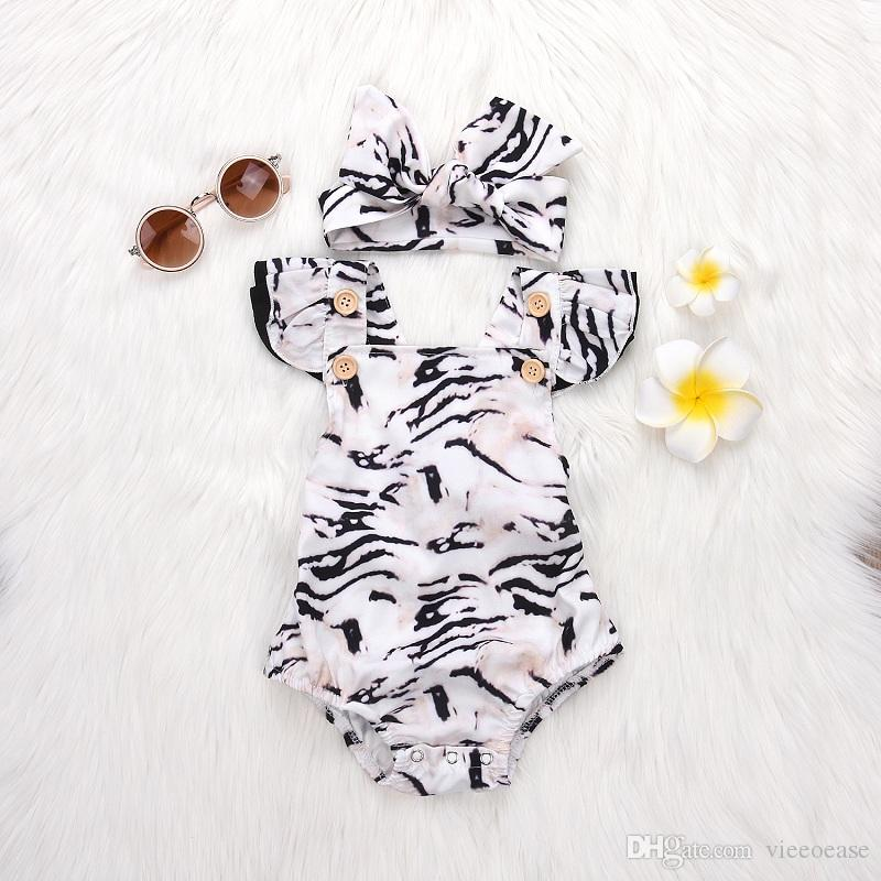 Canavar Yürüyor Kızlar Romper INS Leopar Bebek Giyim 2018 Yaz Sevimli Kafa Kol Baskı Rompers ile Kafa Bandı EE-448
