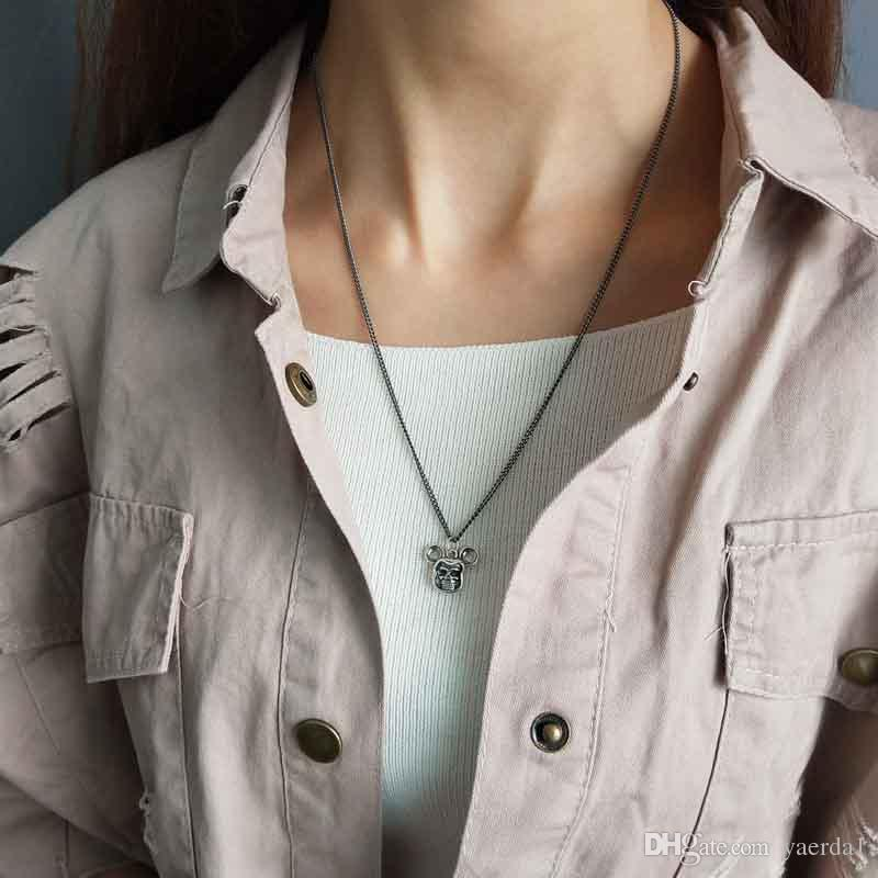 kendra scott Korean version of the 925 sterling silver of the Miki skull necklace gold chain jewelry silicone stainless steel jewelry
