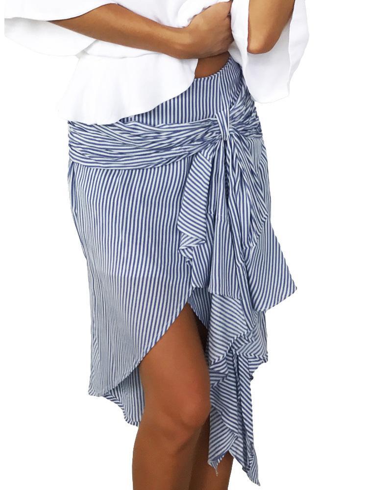 e49384b8fd Compre 2019 Faldas De Rayas De Moda Para Mujer Dobladillo Asimétrico  Volantes Divididos Vendaje Cintura Alta Falda Irregular Azul   Verde   Rosa  Falda A ...