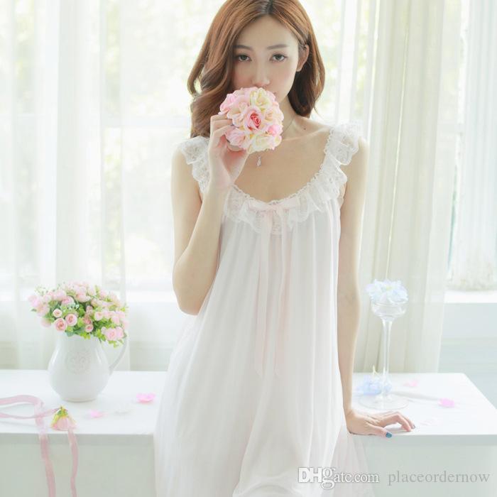 cfb449ede3 Compre Para Mujer Suave Elegante Largo Camisones Mujer Dulce Princesa  Durmiendo En Casa Vestido Dama De Encaje Sexy Rosa Blanca Camisón Ropa De  Dormir A ...