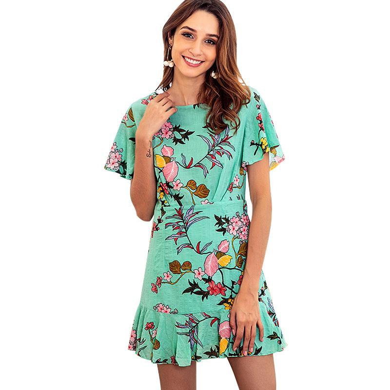 a9aca835680 2018 New Women Mini Dress Floral Print Short Sleeve Summer Beach Dresses  Ladies Ruffled Hem Slim Holiday Short Dress Green White Dress With Gold  White Dress ...