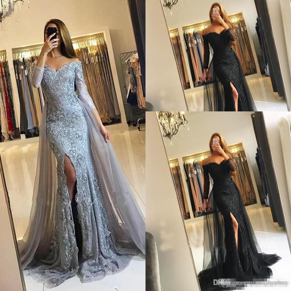 2017 Silver Black New Evening Dresses Long Sleeves Off Shoulder Overskirts Formal Arabic Dubai Mermaid Prom Gowns Split Side Party Gowns