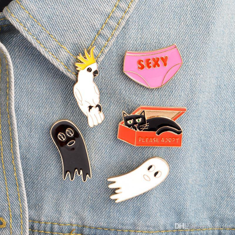 Cat In The Box Sexy Underwear Bird Cute Ghost Cartoon Enamel Hard Metal Pins Brooches Badge Men Women Jewelry