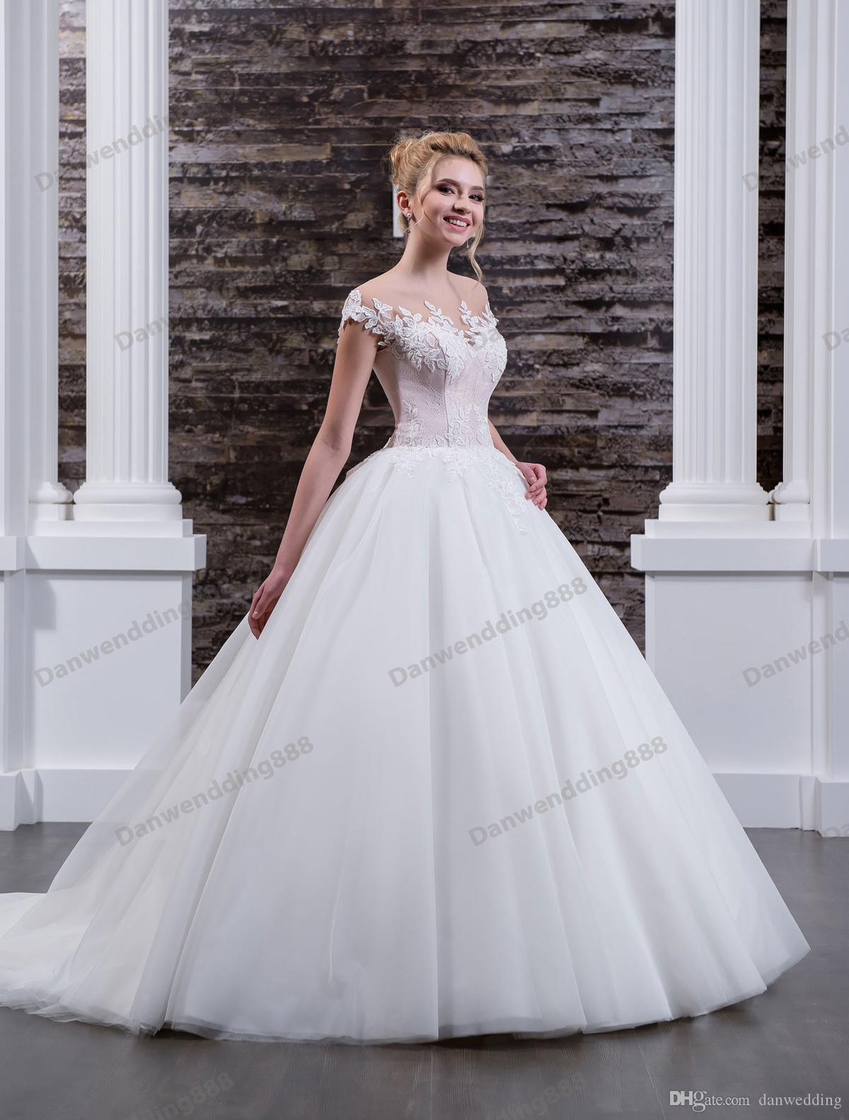 Grace Bianco / Pink Tulle Scoop Applique Abito da sposa Abiti da sposa Abiti da sposa Abiti da sposa Abiti da sposa Abiti personalizzati Dimensione 2-16 ZW612227