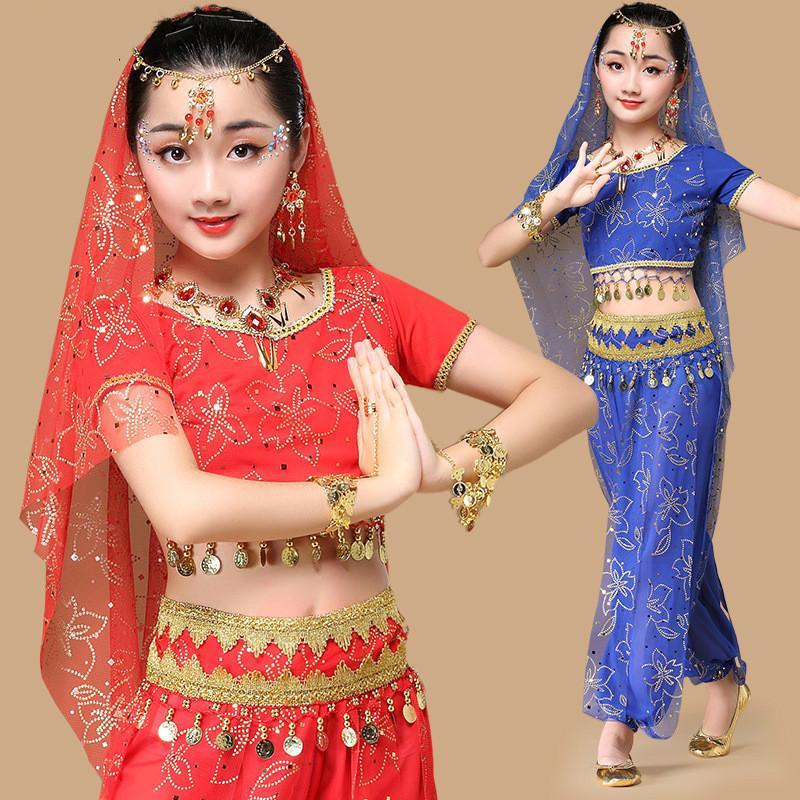 e026a17c7138 Acquista Costumi Di Danza Orientale Bollywood Abito Indiano Bambini Ragazze  Vestiti Bambini Vestiti Di Danza Del Ventre India Bambino Di Bellydance  Indiano ...