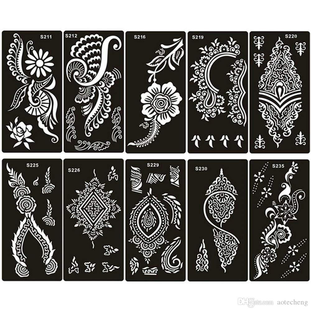 80 style choose Airbrush Henna Tattoo Stencil for Women Hand Finger Body  Paint Gilrs Glitter Tattoo Sticker Templates 18 X 8 5cm