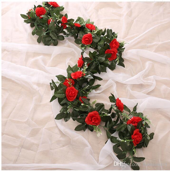 11head Silk Artificial Flowers For Wedding Opening Ceremony Pink Red