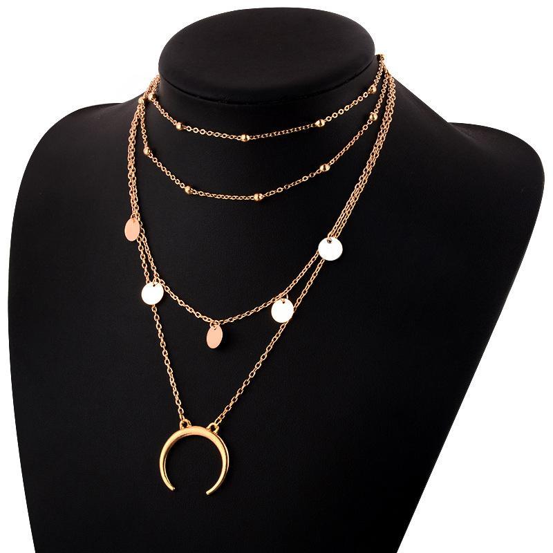 706938a417c3 Compre Collar De Gargantilla Para Mujer Luna Larga Borla Colgante Collares  De Cadena Colgantes Colgante De Monedas De Lunares De Color Dorado Collar  De ...