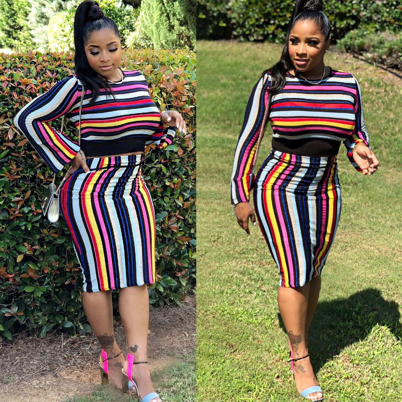 5a26c1d30834 Women's Fashion Casual Striped Two Piece Outfits Long Sleeve Top And Bodycon  Midi Skirt Set Free Shipping J5020