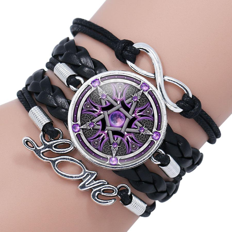 NingXiang Black Occult The Inverted Star Signs Inverted Pentagram Satanic  Pentagram Satanic Star Symbols Glass Bracelet Jewelry