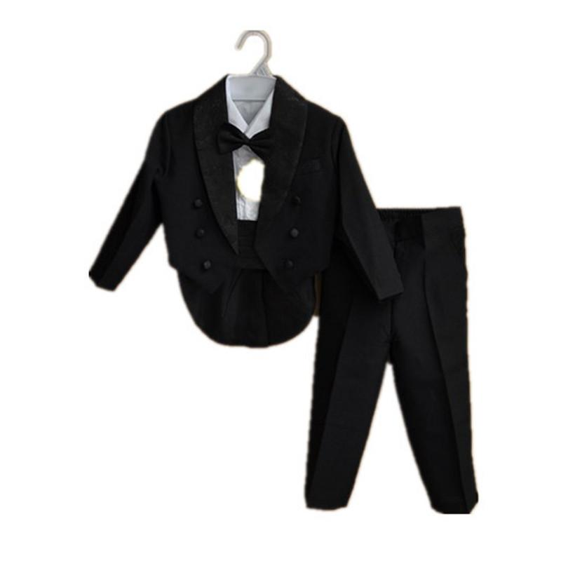 7798ff2e49677 BBWOWLIN Formal Tuxedo Suit Baby Boy Christmas Clothes for 3 - 9 Years Boy  White Black Gentleman Infant Clothing Onesie 70774