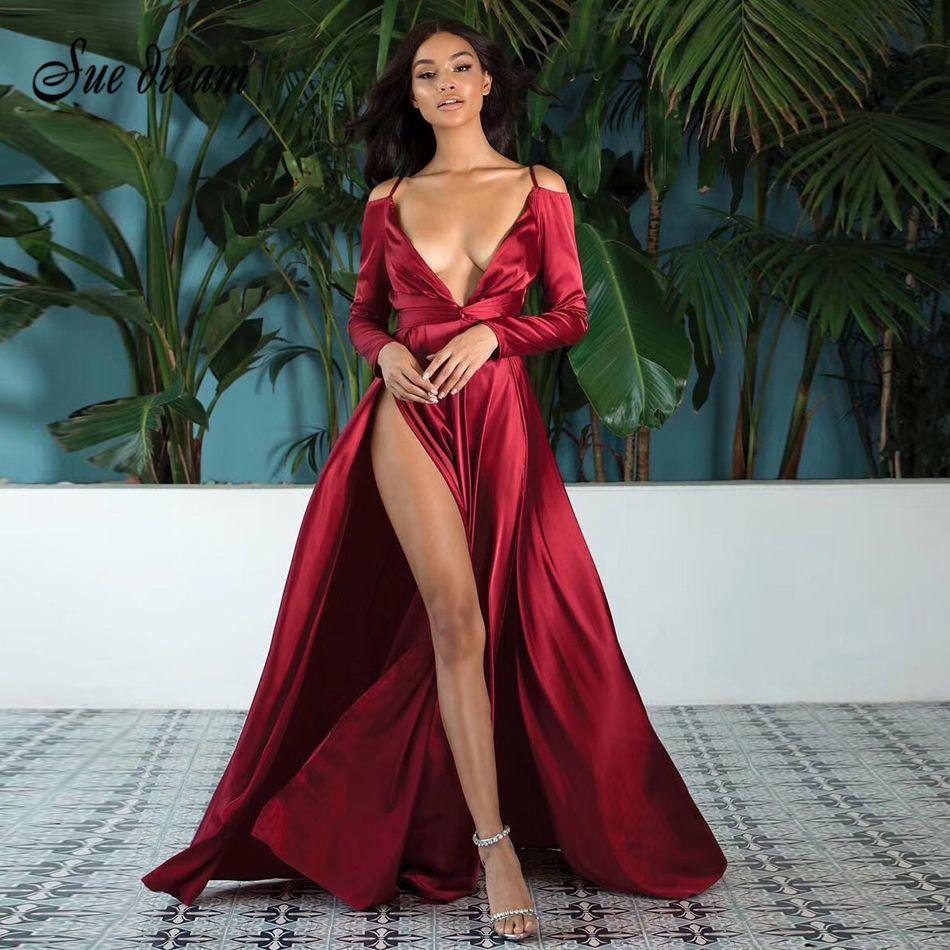 super popular 9caf0 4d4c8 2018 autunno nuovo rosso alta spaccatura delle donne vestito di seta sexy  lungo pieghettato arco con scollo a V vestito da partito sexy delle donne  ...