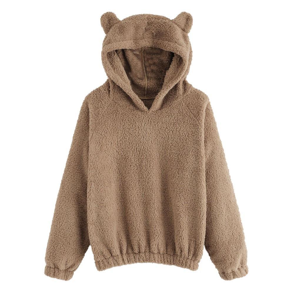 40f2d0c44707 2019 Faux Fur Fluffy Hoodie Pullovers Casual Loose Preppy Sweatshirt Women  Autumn Kawaii Plush Bear Ears Sweatshirts  RN From Feeling10