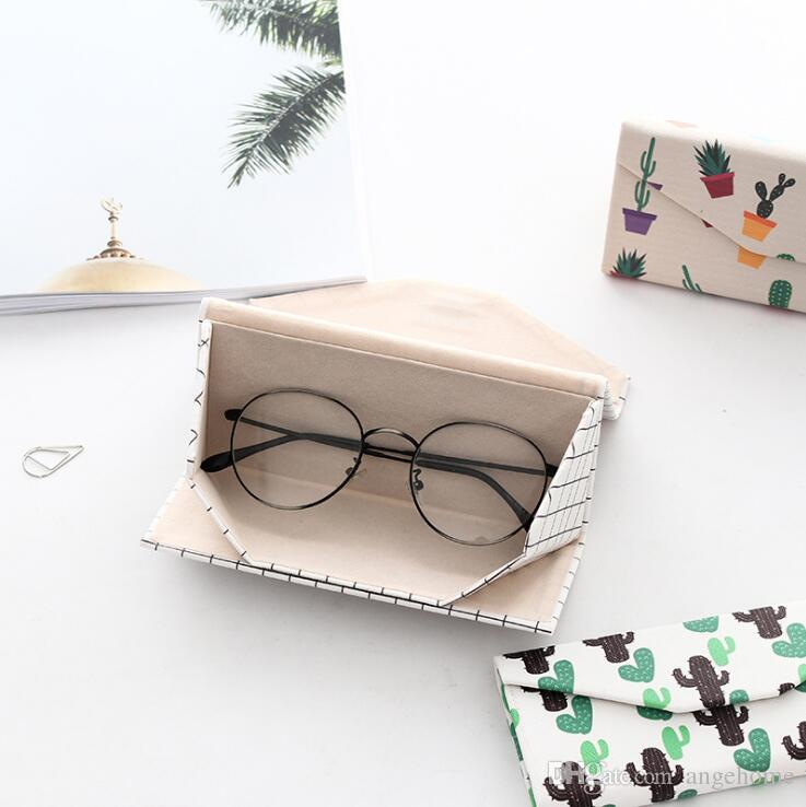 ff8c8eb880d 2019 Portable Unisex Faux Leather Eye Glasses Sunglasses Holder Box Case  Cover For Kids Women Travel Triangle Foldable Cute Cartoon From Angehome