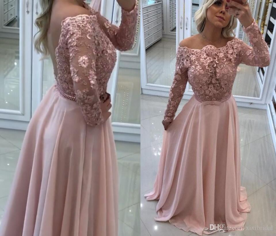c446a9506f244 Pink Lace 2018 Prom Dresses Off Shoulder Long Sleeves Formal Evening Gowns  Beading A Line Sexy Backless Chiffon Party Gowns Kids Prom Dresses Uk Lulu  Prom ...
