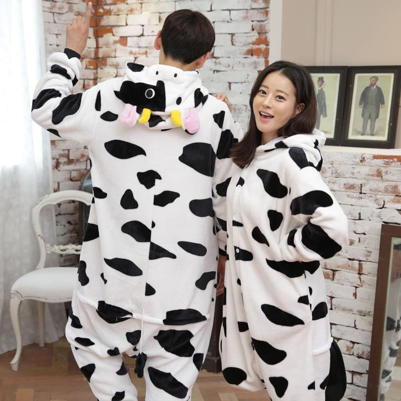 2017 Unisex Adult Dairy cow Pajamas Sets Cosplay Costume Cute Cartoon Animal Sleepwear Winter Autumn Onesie For Women Men Girls