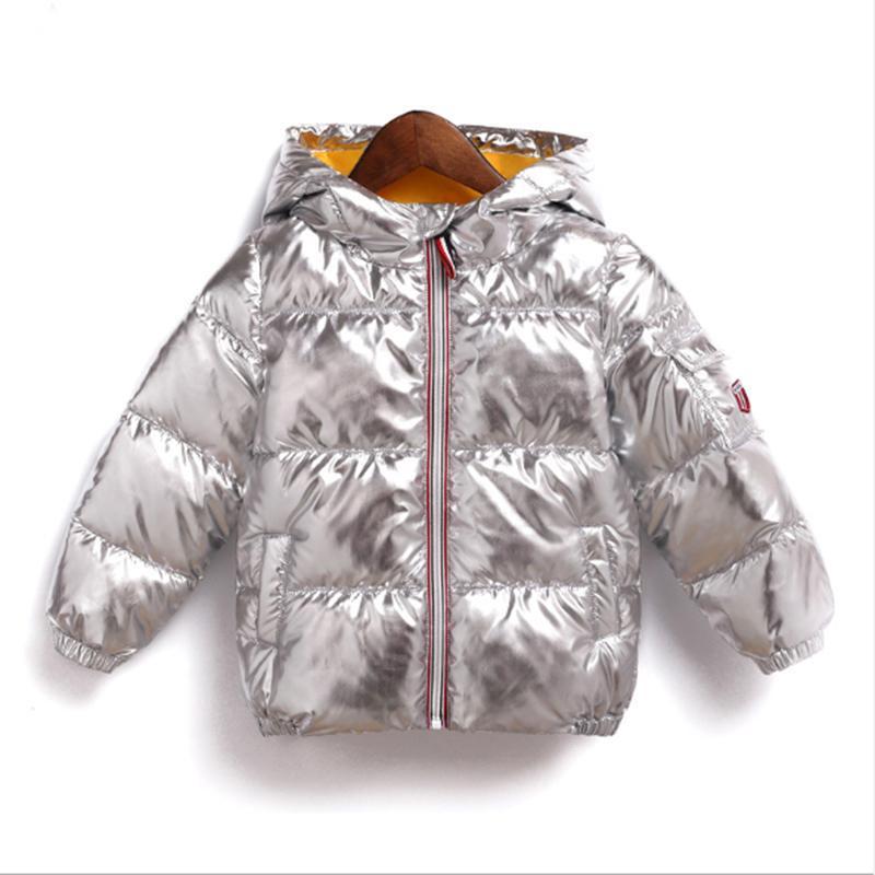 brand new a35a9 e84fa Winter Outwear Mäntel Silber Kinder Jacke Kinder Jungen Parkas Mädchen  Kleidung Kinder wasserdicht Gold glänzend Winter Jacken Hoodie