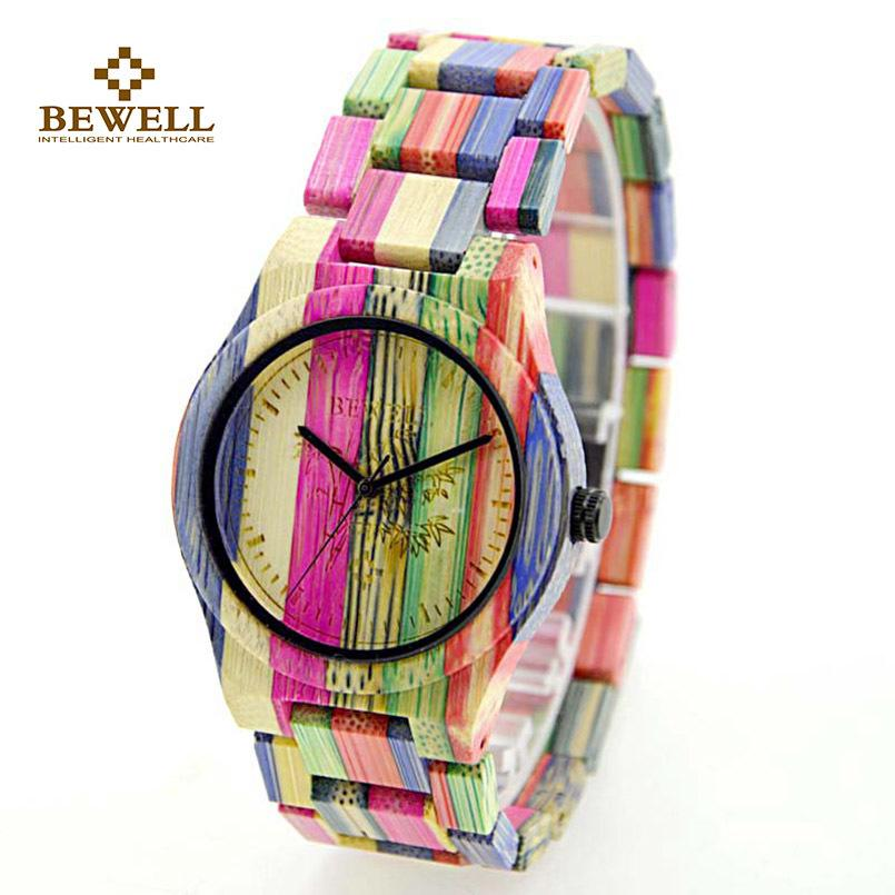 Compre BEWELL Mujeres Reloj De Madera 100% Hecho A Mano Natural De Bambú  Colorido Reloj De Pulsera De Cuarzo Relojes De Lujo Para Mujer 105DL  Y18102310 A ... 8825e59d3e9c