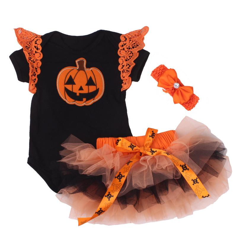 1e4dd6611404e 2019 Newborn Clothes First Halloween Baby Black Pumpkin Romper Tutu Dress  Jumpsuit Headband Outfist Baby Girl Clothing Party Costumes From Deve, ...