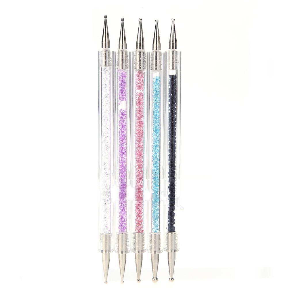 Acrylic 2 Ways Nail Art Dotting Pen Colorful Rhinestone Nail ...