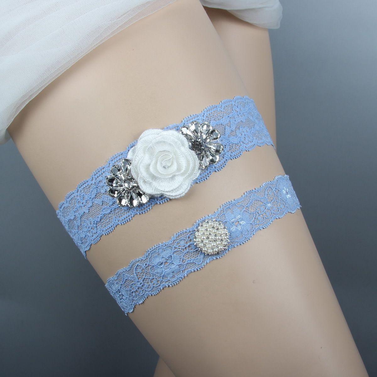 71055175977 Wedding Garters For Bride Blue Bridal Leg Garters Belt Set Lace Rhinestones  Crystals Plus Size Flowers Handmade Blue Lace YY021 Wedding Garters Sets  Where ...