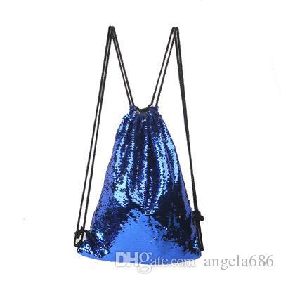 Junge Mädchen Kinder Meerjungfrau Pailletten Rucksack im Freien Kordelzug Rucksäcke Reversible Paillette Glitter Sport Schulter Reisetasche