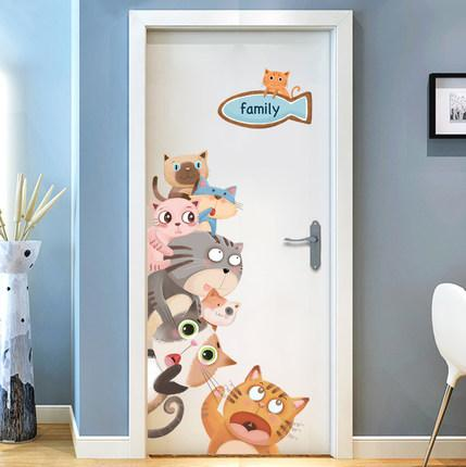 cute cat door stickers cartoon animal wall sticker kids baby rooms