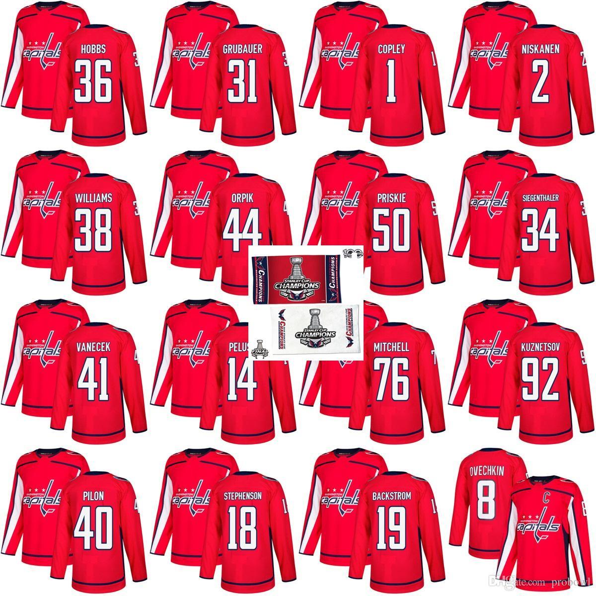 2383bb6e6 2019 2018 Stanley Cup Final Champion Washington Capitals Hockey Jersey 19  Nicklas Backstrom 8 Alex Ovechkin Pheonix Copley Grubauer Brooks Orpik From  ...