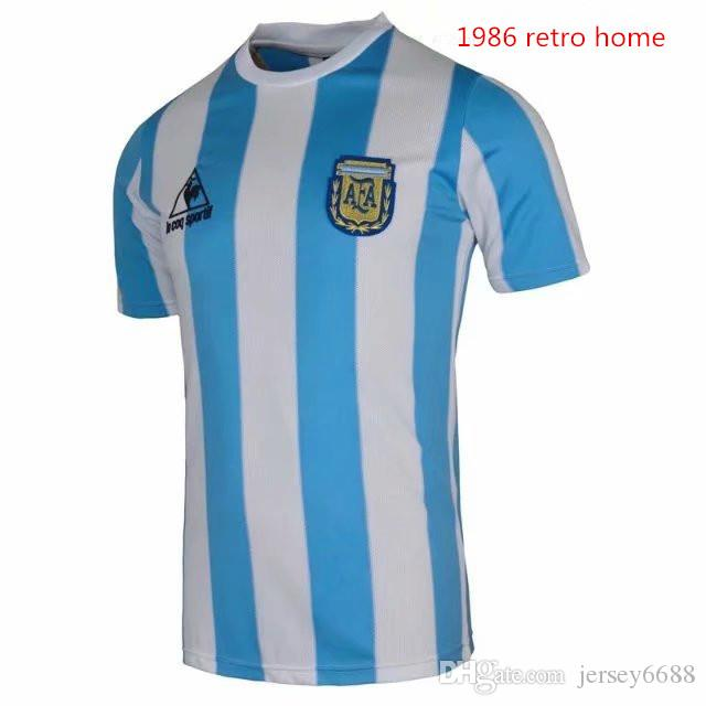 437a63867 2019 1978 1986 Argentina Retro Home Soccer Jersey Retro Version 86 78 Football  Shirt From Jersey6688