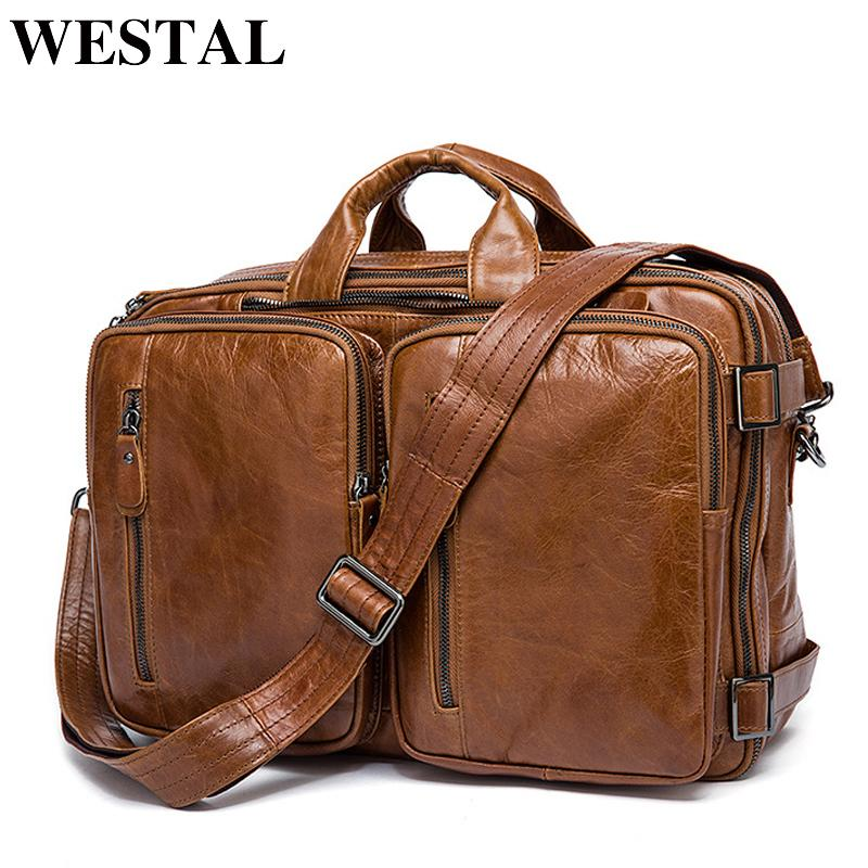 19ab5ee51a75 WESTAL Men S Briefcase Tote Men Messenger Bag Travel Laptop Bag For Men  Document Business Leather Briefcase Male Genuine Leather S921 Leather Bags  Laptop ...