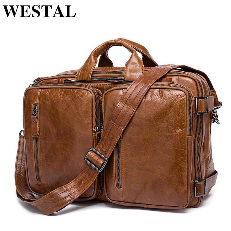 ceb9b31d820f WESTAL Men S Briefcase Tote Men Messenger Bag Travel Laptop Bag For Men  Document Business Leather Briefcase Male Genuine Leather S921 Leather Bags  Laptop ...