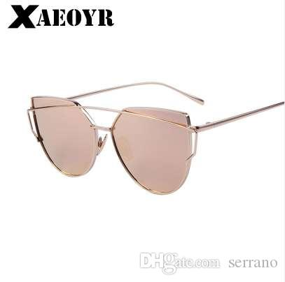 85f3642070a7c Cat Eye Vintage Brand Designer Rose Gold Mirror Sunglasses For Women Metal  Reflective Flat Lens Sun Glasses Female Oculos Sun Glasses Oculos De Sol  Driving ...