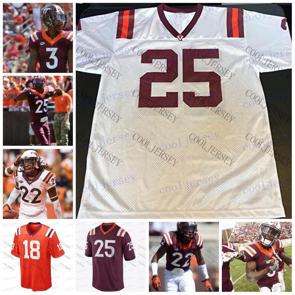 wholesale dealer d669d a4b76 Custom NCAA Virginia Tech Hokies College Football #3 Greg Stroman 22  Terrell Edmunds 49 Tremaine 1 Isaiah Ford White Orange Red Jerseys