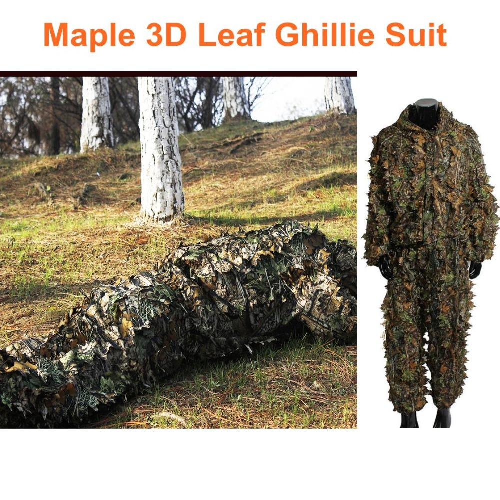 cc8888c4a83f0 Hunting Clothes Army Sniper Ghillie Suit Set 3D Camo Bionic Leaf ...