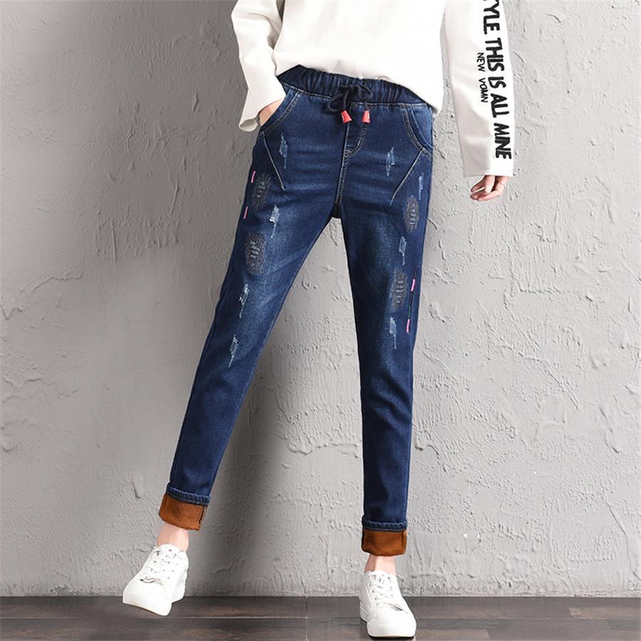 Acheter Vintage Hiver Jeans Pour Femmes Déchiré Épais Flocage Taille  Élastique Casual Denim Crayon Pantalon Mince Pantalon Femme Jeans Stretch  De  30.46 Du ... c03336e3b4a