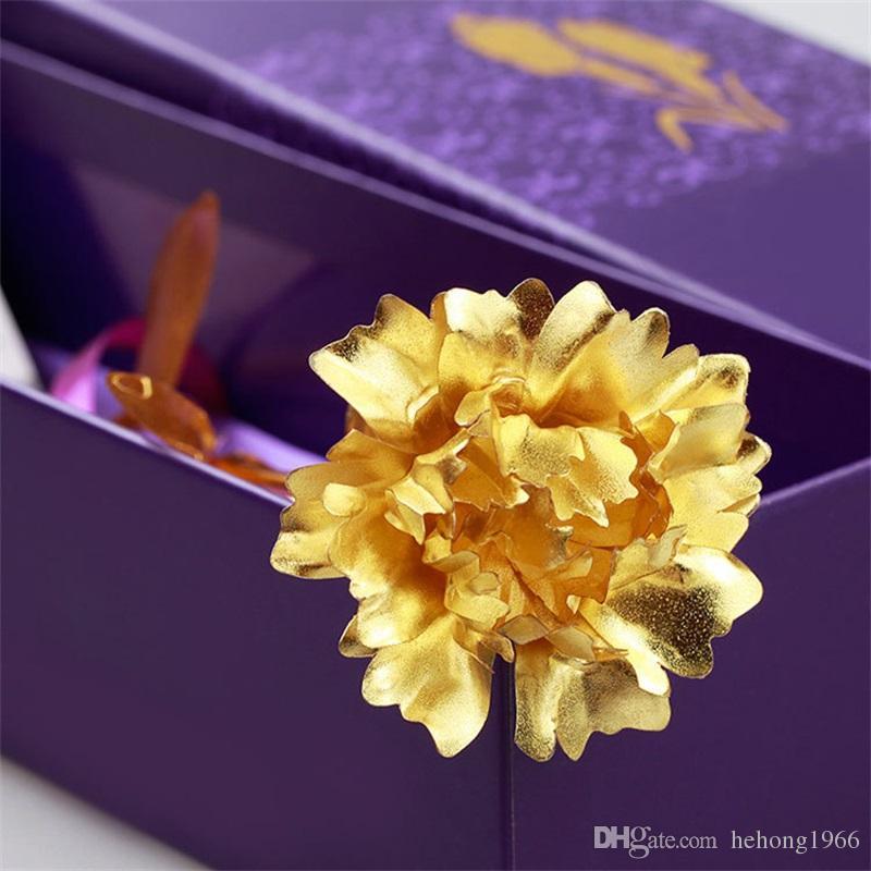 Simulation Flowers Arts Crafts Gold Foil Gilding Imitation Handmade Carnation Artificial Flower Originality Gift Mothers Day Hot Sale 6dq V