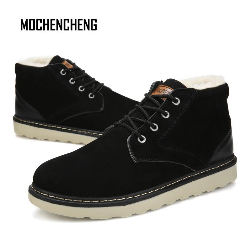 ed893f6391ea Man's Winter Snow Ankle Boots Plush Fur Warm High Top Flock Lace-up Flat  Round Toe Male Leather Casual Rubber Snow Boots