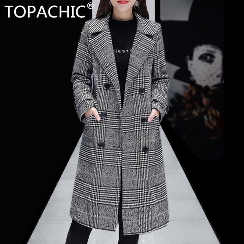 7734124b56bf6 Women s Wool Plaid Coat New Fashion Long Woolen Thick Coat Slim Type Female  Winter Quilted Wool Jackets Female Outwear S-3XL Wool   Blends Cheap Wool  ...