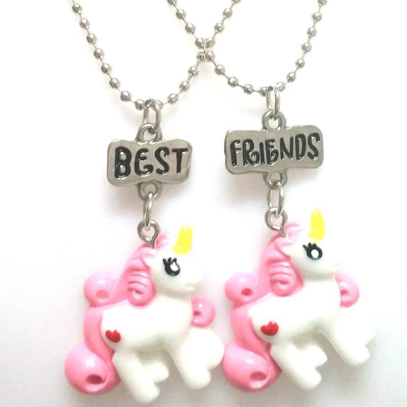 95b2ff03b72b Kawaii Girls Niños Joyería Caballo Color de Dibujos Animados Unicornio 2  Bff Collar Animal Collares pendientes para Regalo Mejores Amigos Niños ...