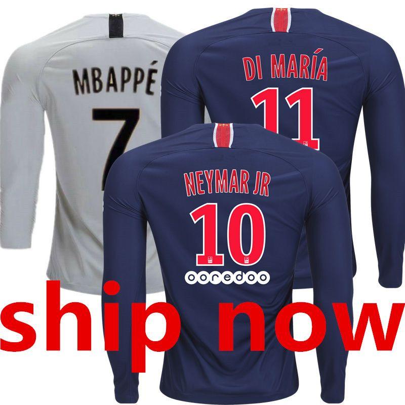 18 19 Psg Camisetas De Fútbol De Manga Larga Paris Saint Germain Long  Sleeve Soccer Jersey 2019 MBAPPE NEYMAR JR 2018 DI MARIA Maillot De Foot  Equipe Inicio ... 11f45bf194eea