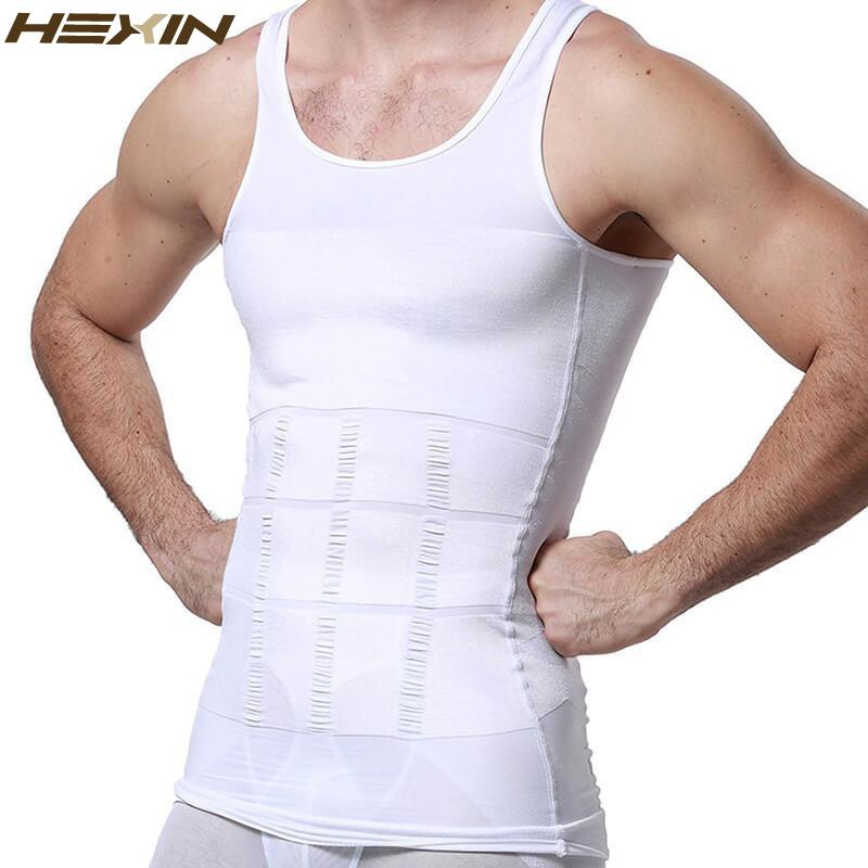 599292a589 2019 HEXIN Men S Slimming Body Shapewear Corset Vest Shirt Compression Abdomen  Tummy Belly Control Slim Waist Cincher Underwear From Salom