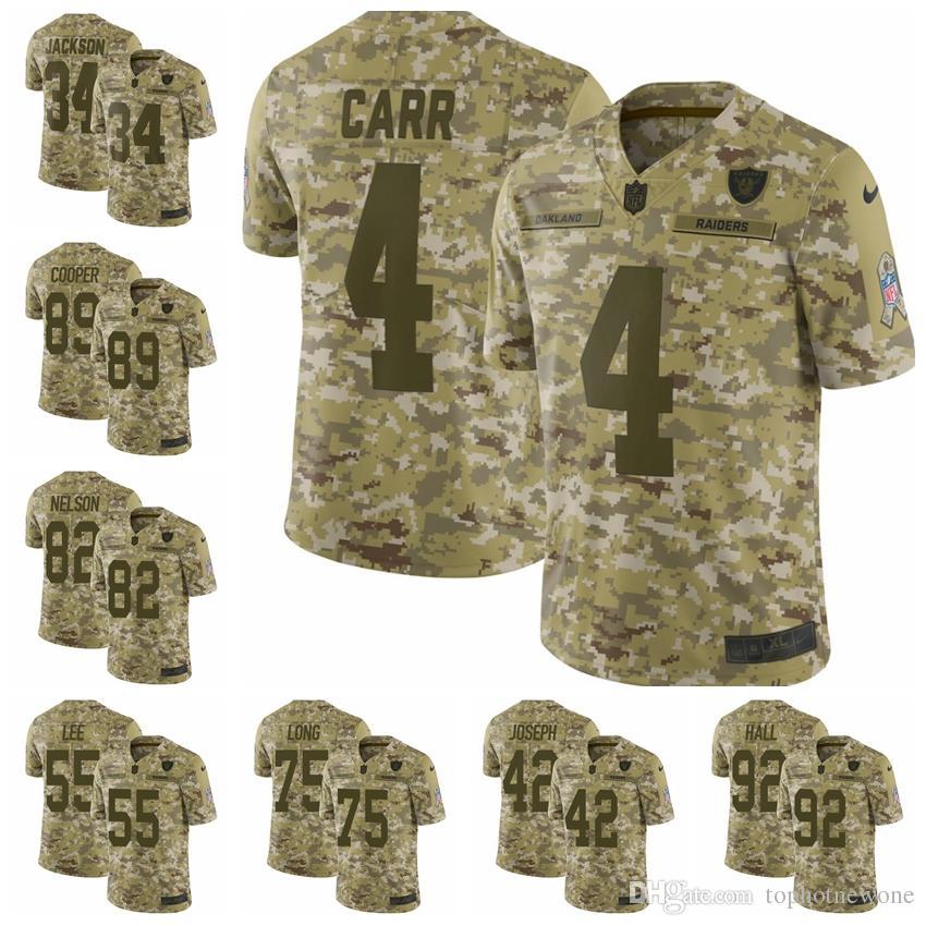 2019 Oakland Camo Raiders Limited Football Jersey 2018 Salute To Service 4  Derek Carr 24 Marshawn Lynch 42 Karl Joseph From Goodtopnew2 d05dee180