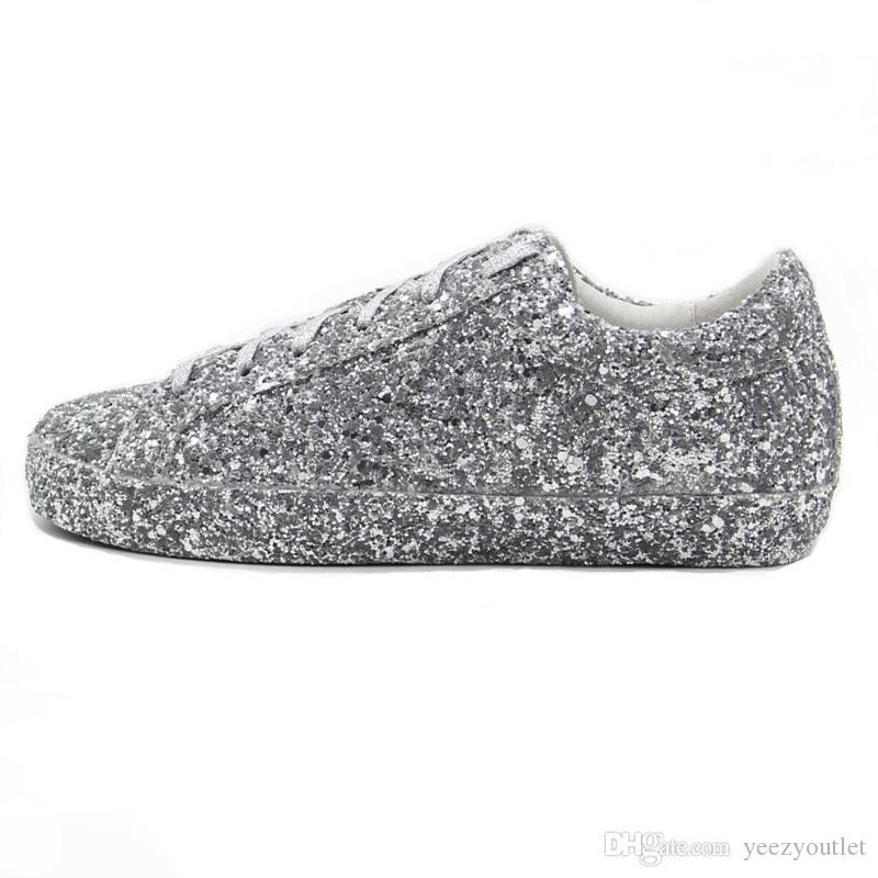 Italy Luxury Genuine Leather Goose SUPERSTAR Sneakers Upper In Calf Leather  All Over Glitter E Stella In Pelle Ricoperta Silver Glitter Italy Luxury  Shoes ... 65a122d6f289