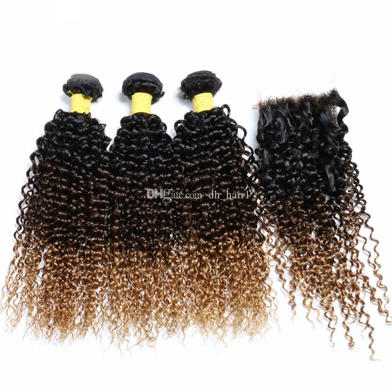 Brown Honey Blonde Ombre Human Hair Bundles with Closure 3 Tone 1B/4/27 Kinky Curly Ombre Hair Weaves with Lace Closure