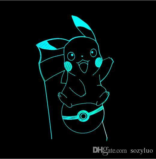 Lovely Cartoon Pikachu 3D Atmosphere Changing Lamp Go Action Figure visual illusion LED Holiday Christmas Gifts Night Light